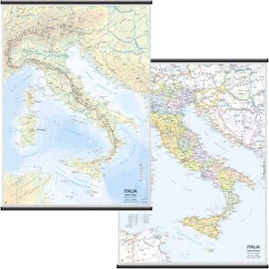 Cartina Italia Politica Umbria.Mappa Carta Cartina Geografica Plastificata Italia Fisica Politica 97x134 Cm Ebay