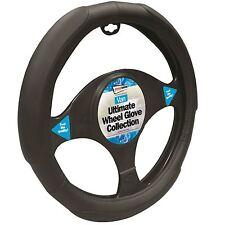 40cm Universal Van Steering Wheel Cover Black Leather Look Non Slip Grip