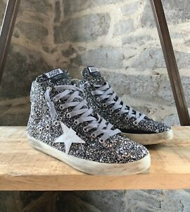 Golden-Goose-Silver-Glitter-Francy-High-Top-Sneakers-SIZE-39-IT-9-US
