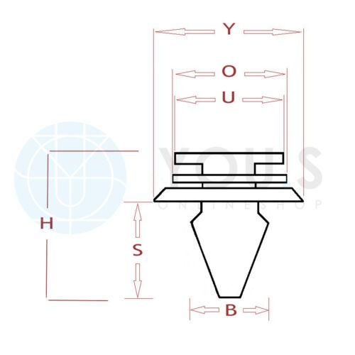 50 Stück YOU.S Orig NEU Türverkleidung Montage Klammern für FORD N802900