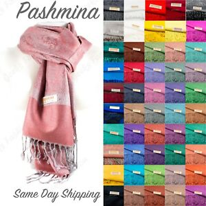 2PLY-LONG-78X28-Solid-Silk-Pashmina-Shawl-Wrap-Stole-Cashmere-Wool-Silk-Scarf