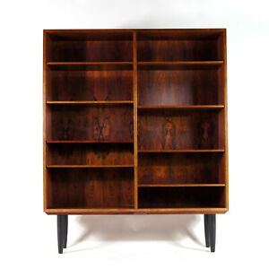 Retro-Vintage-Danish-Omann-Jun-Large-Rosewood-Bookcase-Book-Cabinet-50s-60s-70s