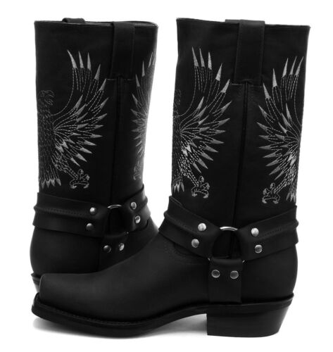 Grinders Bald Eagle Black Leather Cowboy Boot Slip On Square Toe Front Boots