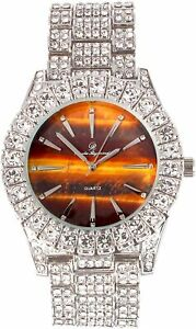 Men Fully Iced Watch Bling Rapper Lab Simulate Diamond Silver Brown Band Luxury
