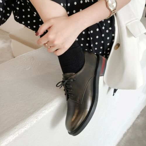 Womens Ladies Fashion Leather Round Toe Lace Up Oxford Brogue Court Shoes KSQK