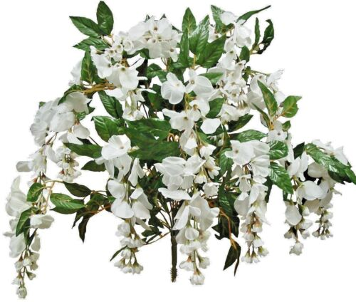 "White Wisteria Artificial Silk Flower 24/"" Bouquet Home Wedding Table Decor Craft"