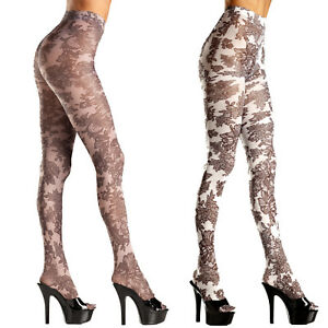 4fbd70ac28409 Image is loading Floral-Print-Tights-Pantyhose-Opaque-Woven-Flowers-Costume-