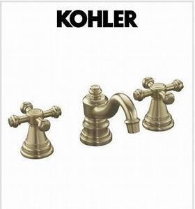 Kohler Brass Kitchen Faucet : Kohler IV Georges Brass widespread bathroom sink faucet K-6811-3-BN ...