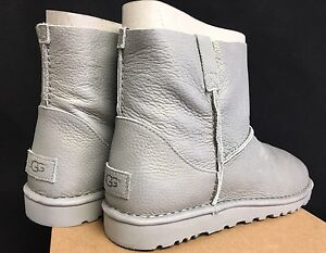 Image is loading Ugg-Australia-Classic-Unlined-Mini-Metallic-Silver-Women-