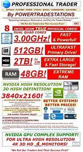 DELL Trading Computer 4Monitor 48GBRAM 8CoreXeon3GHz 512SSD 2TBHDD 3840x2160 W10