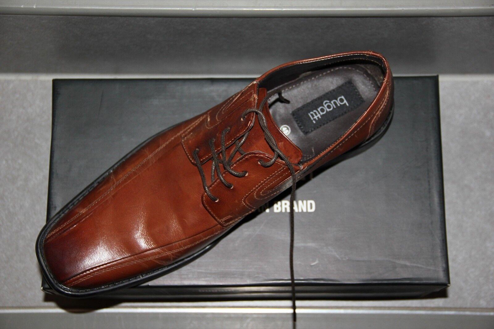 Braune BUGATTI Leder Nappa Halb Schuhe Modell Ottavio Nappa Leder Gr 45 Herren 1984c9