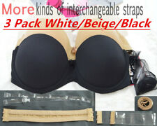 1ebcf456fe52a Invisible Strapless Padded Push Up Bra Multiway Clear Back Straps Underwear  Bras