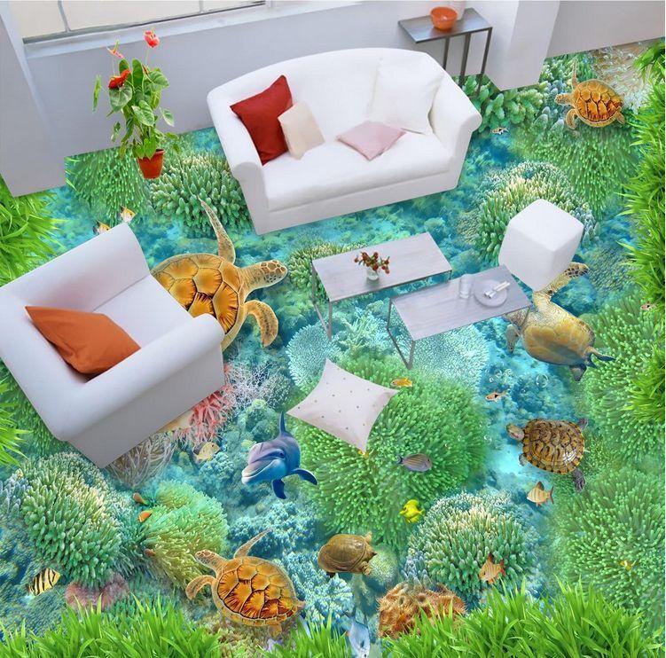 3D Ocean 8 Fond d'écran étage Peint en Autocollant Murale Plafond Chambre Art