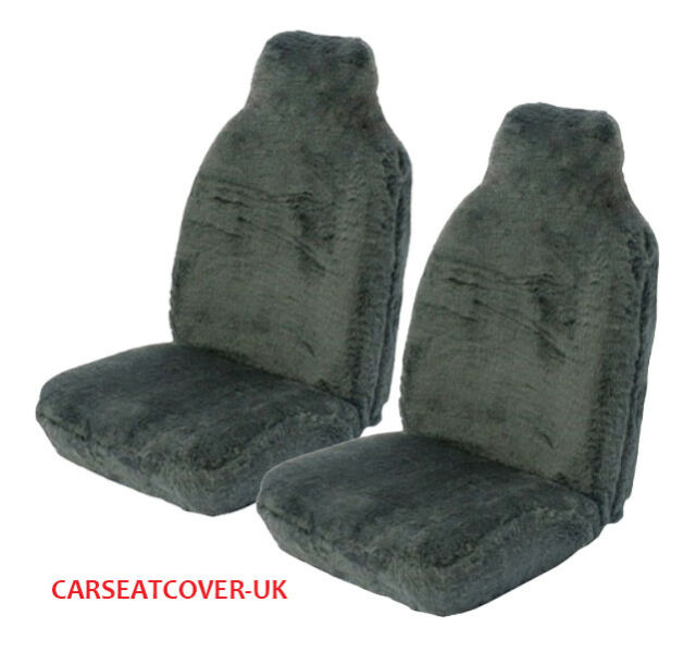Jeep Grand Cherokee (1999-05) Panther Grey Faux Fur Car Seat Covers - 2 Fronts