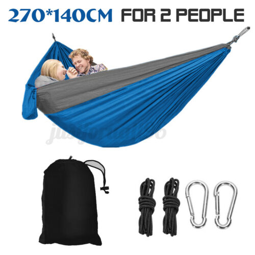 Double 2 Person Portable Parachute Nylon Fabric Hammock Hanging Bed Sleep Swing