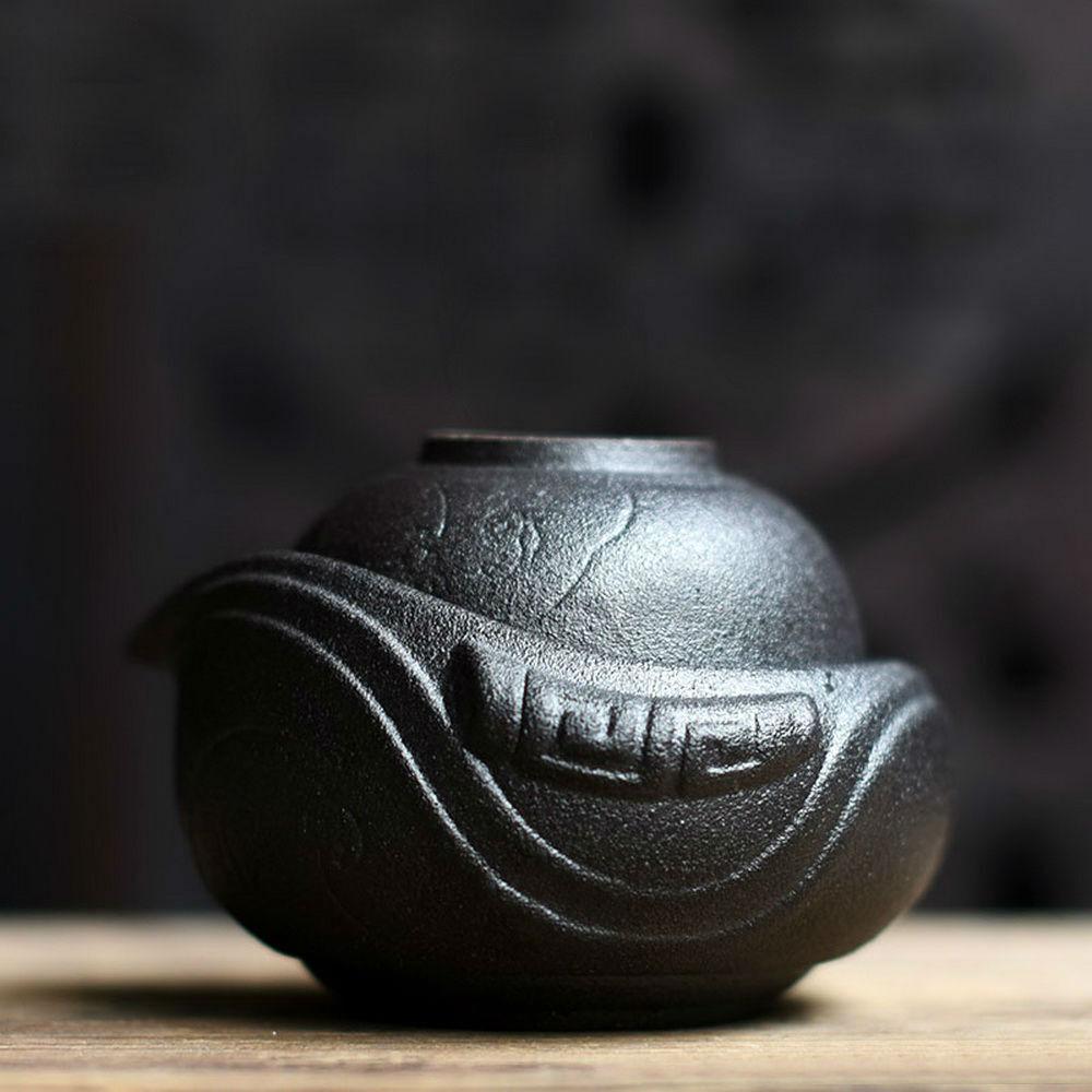 Teiera in teak e ceramica in Teakup Ceramica Gongfu noir