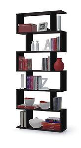 Black-Gloss-Ziggy-Bookcase-Room-Divider-Shelf-Shelving-Display