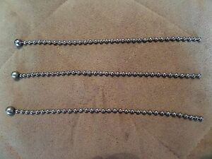 NEW! 3 SILVER BEAD CHAINS FOR ANTIQUE VINTAGE ART DECO LIGHT FIXTURE GLASS SHADE