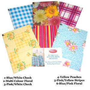 Tavola-Tablecloth-Cover-SQUARE-pulire-facile-da-pulire-VINILE-PVC-FLANELLA-POSTERIORE-132-x-132cm