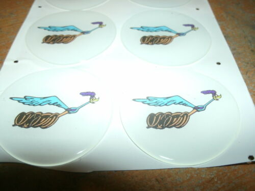 PLYMOUTH ROAD RUNNER MAGNUM 500 WHEEL RIM CENTER EMBLEMS DECALS SET OF 4x 1 3//4