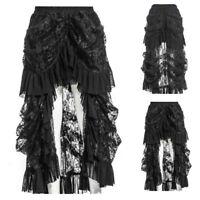 Steampunk Women's Elegant Gothic Lolita Party Evening Lace Long Skirt Plus Size