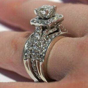 14k-White-Gold-Over-Princess-Diamond-Cut-Engagement-Wedding-Band-Bridal-Ring-Set