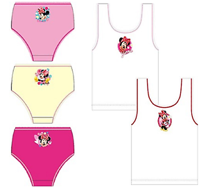 NEW GIRLS MINNIE MOUSE 2 PACK VESTS OR 3 PACK BRIEFS SIZE 2 TO 8 YEARS