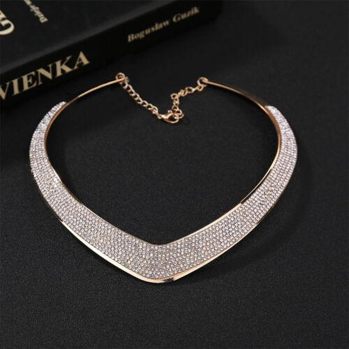 Women Jewelry Chain Pendant Crystal Choker Chunky Statement Bib Necklace  TB TEU