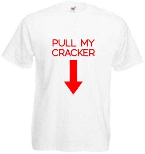 Pull My Cracker Xmas T Shirt Christmas Gift Tee Funny Top Present Mens Comedy