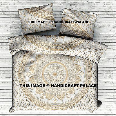 GOLD OMBRE MANDALA INDIAN ETHNIC DUVET COVER QUEEN BEDDING FULL SET 4 PCS DECOR
