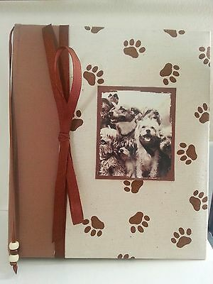 PAW PRINT Brown Fabric Journal Scrapbook Ribbon Beaded Bookmark