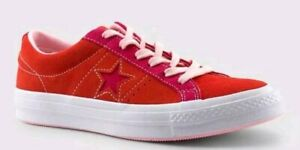 64b05f469699 Image is loading Converse-One-Star-Pinstripe-Ox-Enamel-Red-Pink-