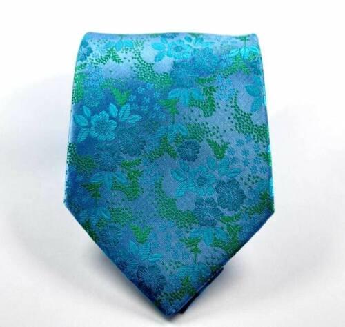 Hot Classic Floral Vert Turquoise Jacquard Tissé 100/% Soie Hommes Cravate Cravate