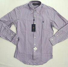 $98 Ralph Lauren Blue Label Polo Pony Poplin Purple Striped Custom Dress Shirt S