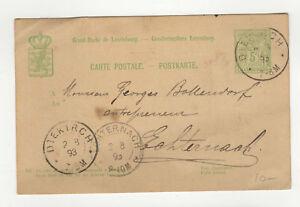 Luxembourg-entier-postal-sur-carte-postale-1893-tampon-Diekirch-L360