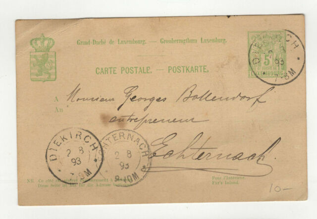 Luxembourg entier postal sur carte postale 1893 tampon Diekirch /L360