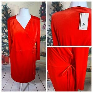 TU-WOMAN-Ladies-Red-Dress-Size-22-Velvet-Wrap-Stretchy-Cruise-Party-Midi-NEW-NWT