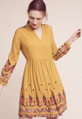 Anthropologie Floreat Raella Embroiderot Tunic Peasant Dress Petite Medium New