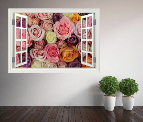 Multi colour Roses close up window wall sticker wall mural (19586238ww) Floral