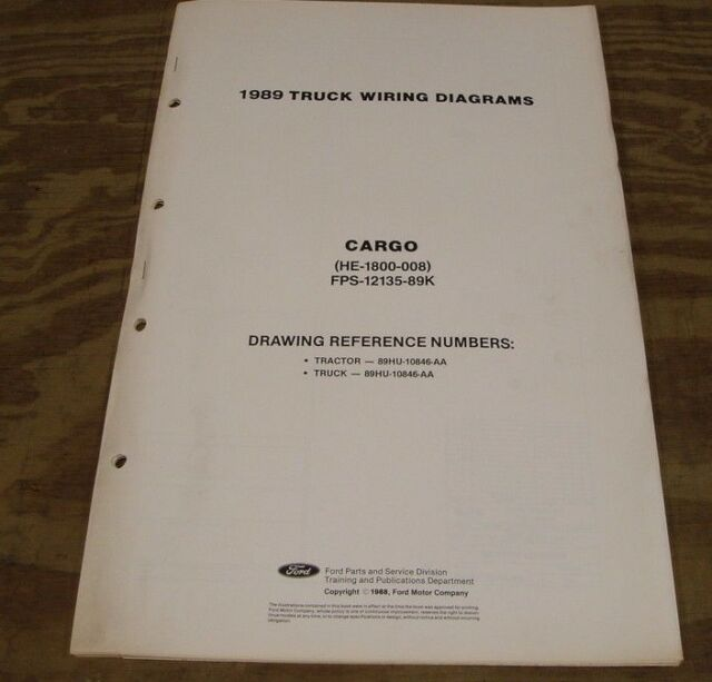 1989 Ford Truck Cf6000 Cf7000 Cargo Wiring Diagram Schematic Sht Service Manual
