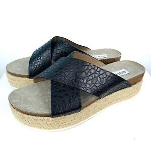 19879e5e297 Details about STEVE MADDEN HASSIE Black Platform Espadrille Sandals Women's  size 8.5 EUC