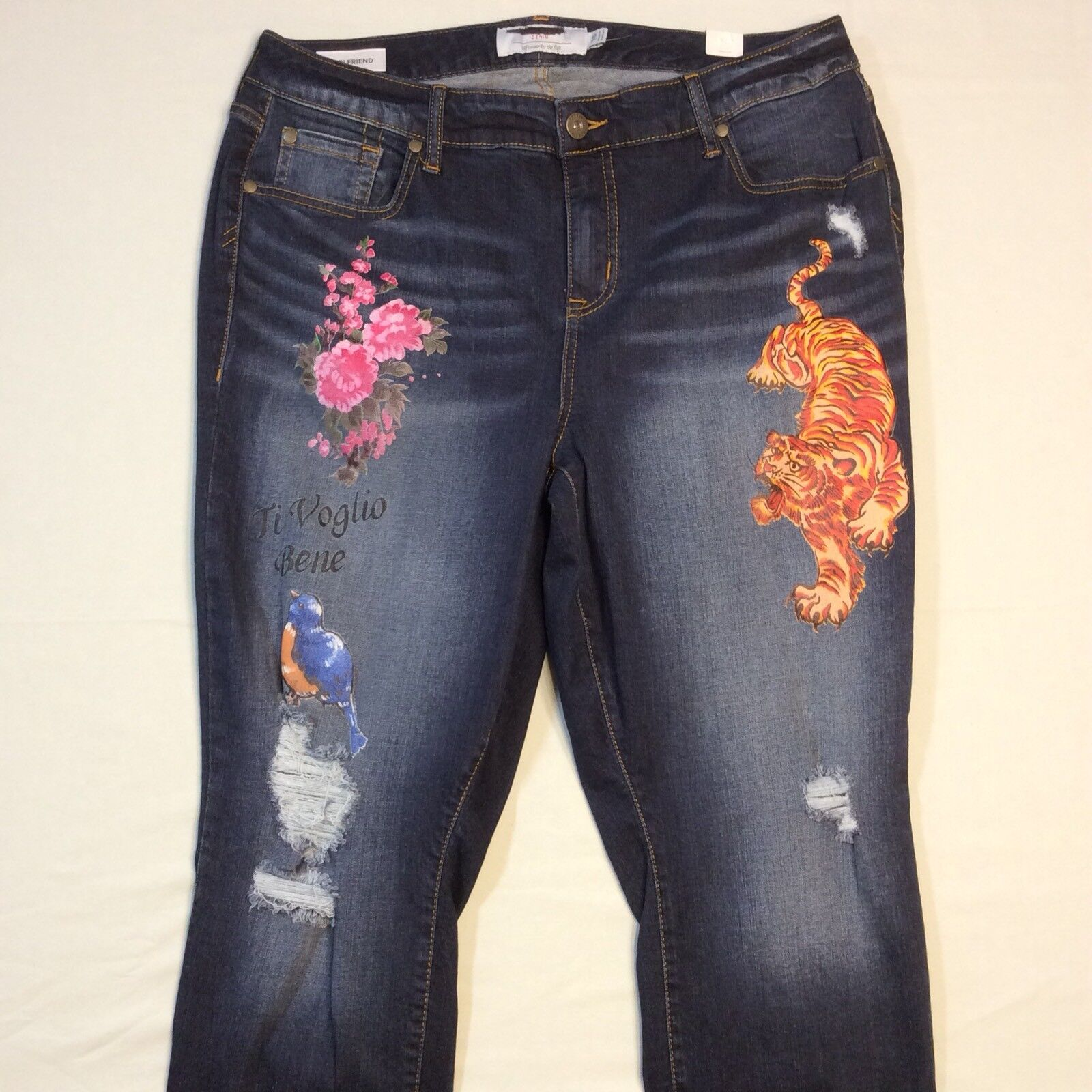 baade18ab312b TORRID Girlfriend Dark Wash Distressed Graphic Jeans Pants Womens 16  EXCELLENT