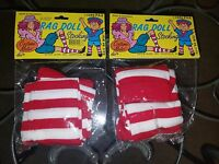 2 Ct. Lot Of Red & White Striped Rag Doll Knee-high Costume Stockings