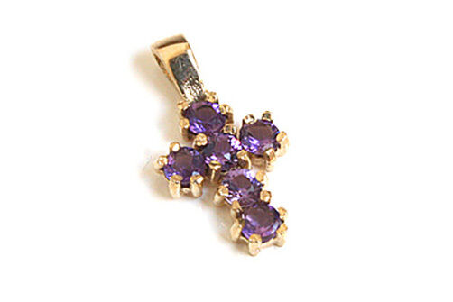 9ct gold Amethyst Cross Pendant no Chain Made in UK Gift Boxed