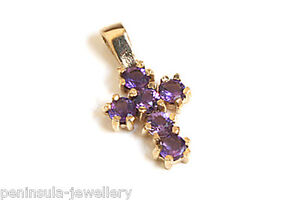 9ct Gold Amethyst Cross Pendant Necklace and Chain Gift Boxed Made in UK