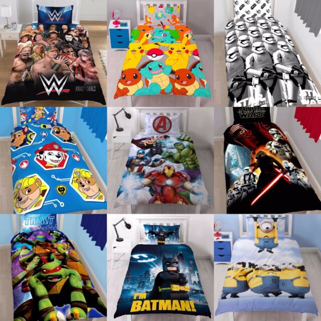 NEW BOYS SINGLE BED SIZE DUVET QUILT COVER SETS KIDS CHILDRENS CHARACTER DESIGN
