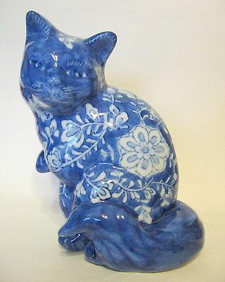 Ceramic Sitting Cat Figurine Blue White Hand Painted Design 7 to 8 Inch Curio