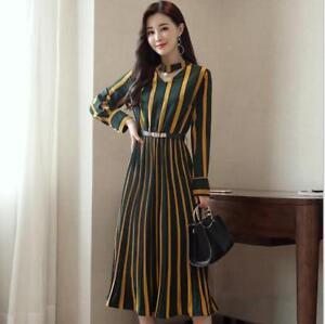 Women-Autumn-Chic-Slim-Fit-Elegant-Long-Striped-Skirt-Waist-Belt-Dress-AU-SZ