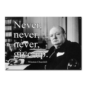 inspirational winston churchill quote never give up vintage retro