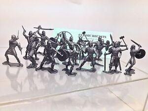 Recast-Marx-54mm-Vikings-16-Figures-In-9-Poses-Marx-Playset-Figures